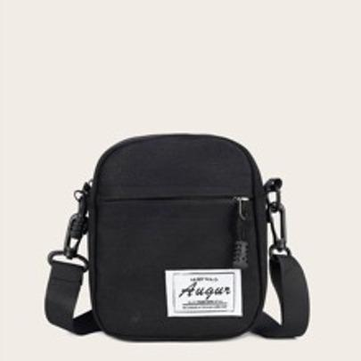 Mini Letter Patch Zip Front Crossbody Bag