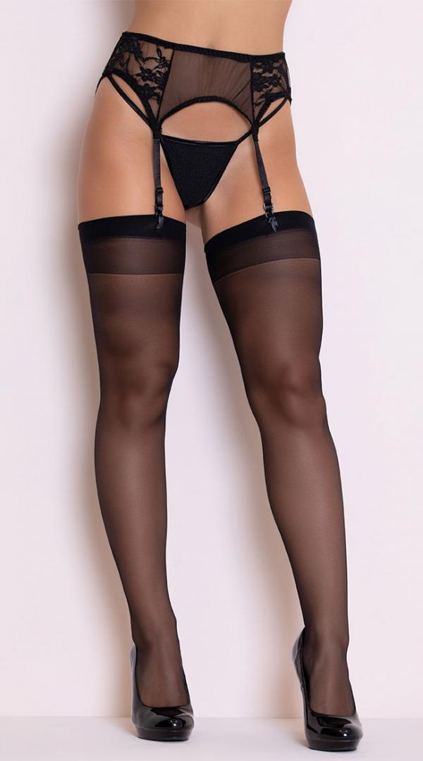 Womens Sheer Back Seamed Footed Thigh High  Stockings by Coquette