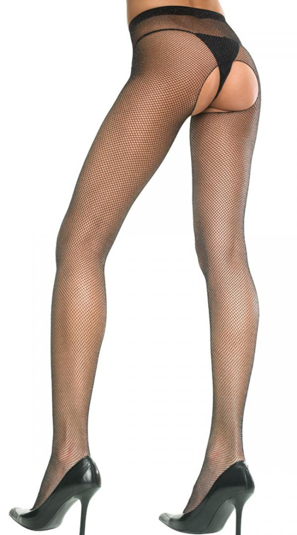 Womens Seamless Fishnet Footed Crotchless  Pantyhose by Music Legs
