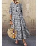 Maternity Plaid Print Linen Short Sleeves Sleeves Round Neck Tunic/Maxi Dress