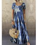 Round Neck Cotton Tie Dye Print Vintage Short Sleeves Sleeves Maxi Dress