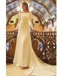 Off the Shoulder  Mermaid Knit Wedding Dress  with a Chapel Train
