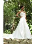 A-line Sweetheart Corset   Waistline Beaded Applique Lace-Up Tulle Sleeveless  Wedding Dress  with a Chapel Train