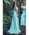 Applique Knit Natural   Waistline Sheath Off the Shoulder Sleeveless  Sheath Dress/Bridesmaid Dress  with a Brush/Sweep Train  With a Bow(s)
