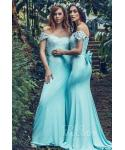 Off the Shoulder Sleeveless  Knit  Applique Natural   Waistline Sheath Sheath Dress/Bridesmaid Dress  with a Brush/Sweep Train  With a Bow(s)
