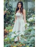 A-line Strapless Lace  Tea Length Sleeveless  Natural   Waistline Lace Bridesmaid Dress  With a Bow(s) and a Sash