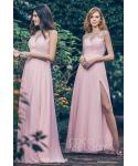 Sheath Illusion Applique Floor Length  Cap Sleeves  Chiffon Natural   Waistline Sheath Dress/Bridesmaid Dress  With a Sash