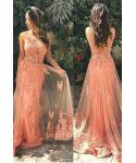 A-line Sleeveless Pleated V Back Back Zipper Open-Back Prom Dress with a Brush/Sweep Train