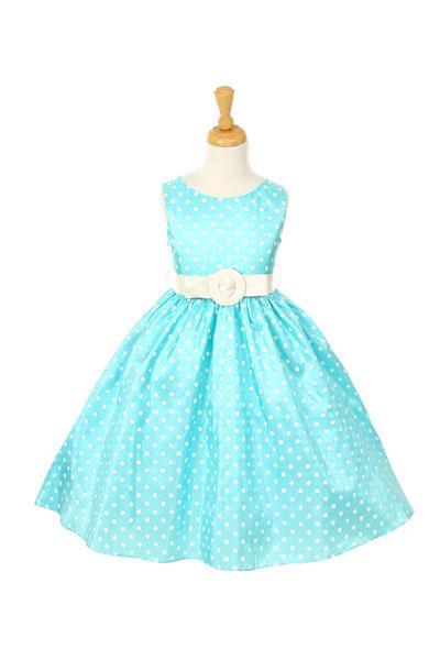 Girls Polka Dot  Print Taffeta Sleeveless   Dress
