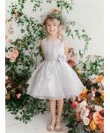 Girls Crystal Beaded Tiered Organza  Dress