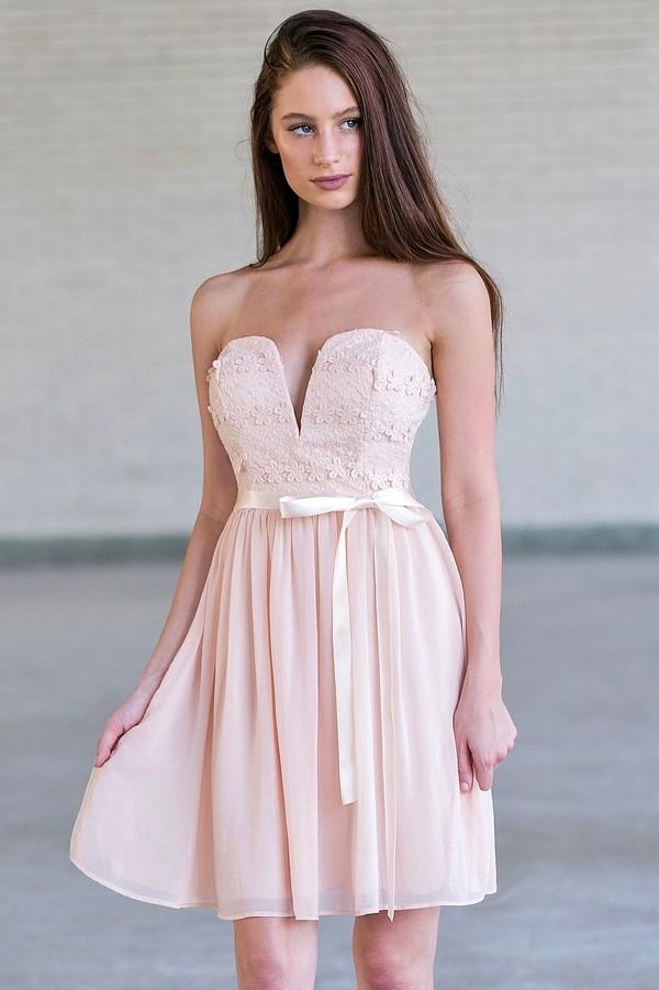 Strapless Sweetheart Mesh Hidden Back Zipper Embroidered Flowy Flower(s) Wrap Empire Waistline Bridesmaid Dress/Party Dress With a Bow(s) and a Ribbon and a Sash