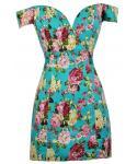 Sweetheart Off the Shoulder Princess Seams Waistline Short Floral Print Hidden Back Zipper Fitted Dress