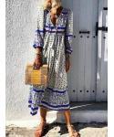 A-line V-neck Floral Print Beach Dress