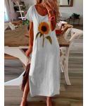 Plus Size Floral Print Crew Neck Vintage Short Sleeves Sleeves Party Dress/Midi Dress