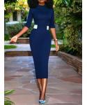 Elbow Length Sleeves Collared Sheath Sheath Dress/Midi Dress