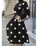A-line Long Sleeves Turtleneck Vintage Polka Dots Print Midi Dress