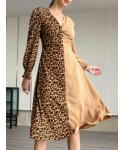 V-neck Animal Leopard Print Midi Dress