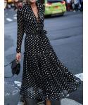 Notched Collar Polka Dots Print Party Dress/Maxi Dress