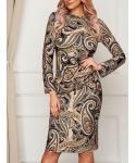 Paisley Print Long Sleeves Crew Neck Bodycon Dress/Midi Dress