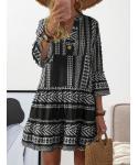 V-neck Long Sleeves Spring Swing-Skirt Cotton Dress With Ruffles