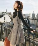 A-line Mock Neck Fitted Plaid  Print Acrylic Pinafore  Dress