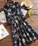 Flared-Skirt Corduroy Stretchy Banding  3/4 Sleeves  Floral Print  Dress