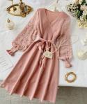 Modest A-line Tie Waist Waistline Winter Dots Print Dress With Pearls
