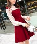 A-line  Bishop Long Sleeves  Sheer Shirred Polyester Turtleneck  Dress