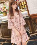 Floral  Print Hidden Back Zipper Lace-Up Chiffon Skater Dress