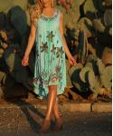 Floral Tie Dye Print Sleeveless Embroidered Rayon Beach Dress