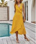 Polka Dots Print Cocktail Wrap Draped Vintage Dress With Ruffles