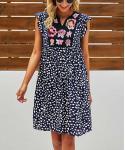 Floral Dots Print Shift Flutter Sleeves Dress