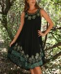 Swing-Skirt Rayon Sleeveless  Embroidered Floral Print  Dress